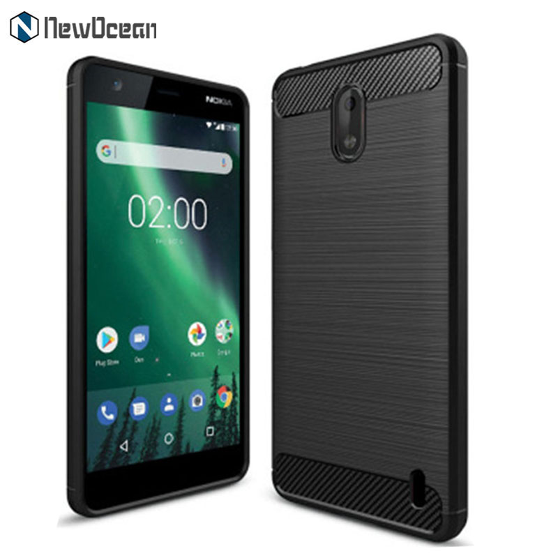 Hot selling Slim Armor Bruhed line Carbon fiber TPU mobile phone case for Nokia 2 cover