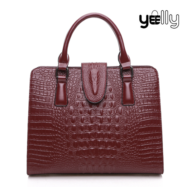 YEELLY New Arrival Crocodile Skin Genuine Leather Handbag With Pretty Price