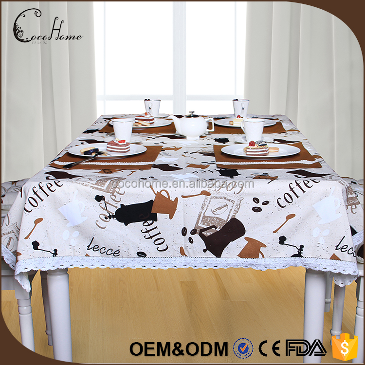 2017 Wholesale coffee color handmade fancy wedding 1.2 m printed lace tablecloth for party