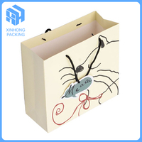 Customer logo white card paper bag with handles, gift bags with cartoon