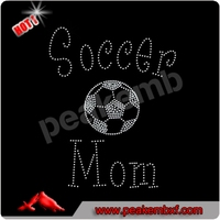 Bling Soccer Mom Crystal Rhinestone Mesh Iron On Transfer
