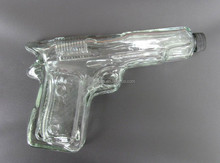 unique gun shape glass wine / water bottle