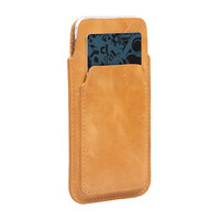 100% Pure Genuine Cow Leather Bag Sleeve Case for Phone 4.7 to 6.6 inch with front Card Slot