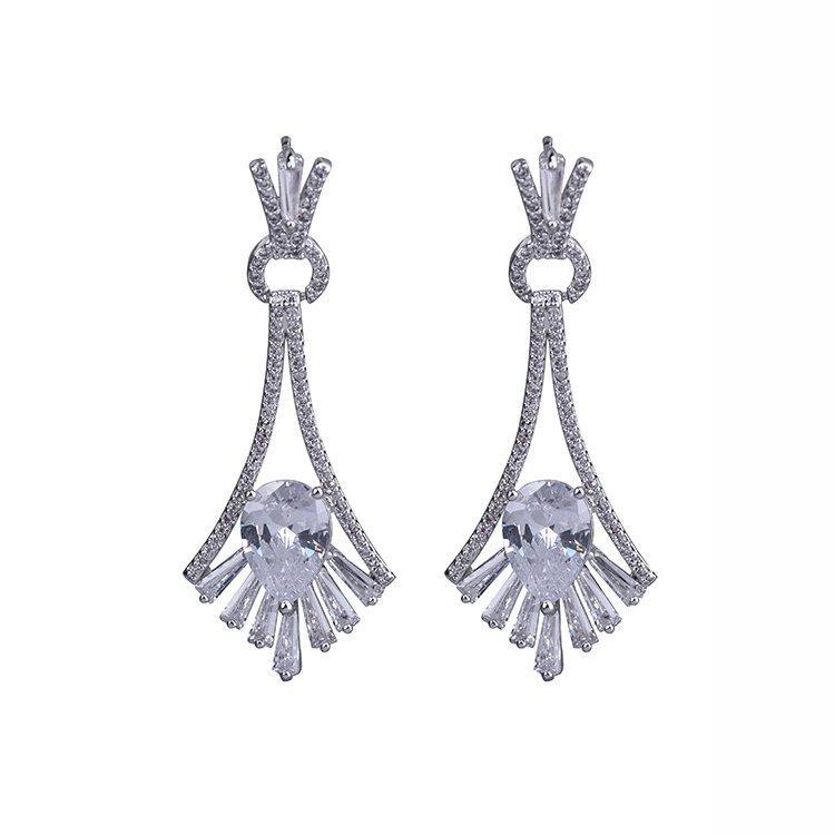 굿 quality 아름답게 designed 금 plating 5A cubic 지르코니아 womens geometric shape drop earrings