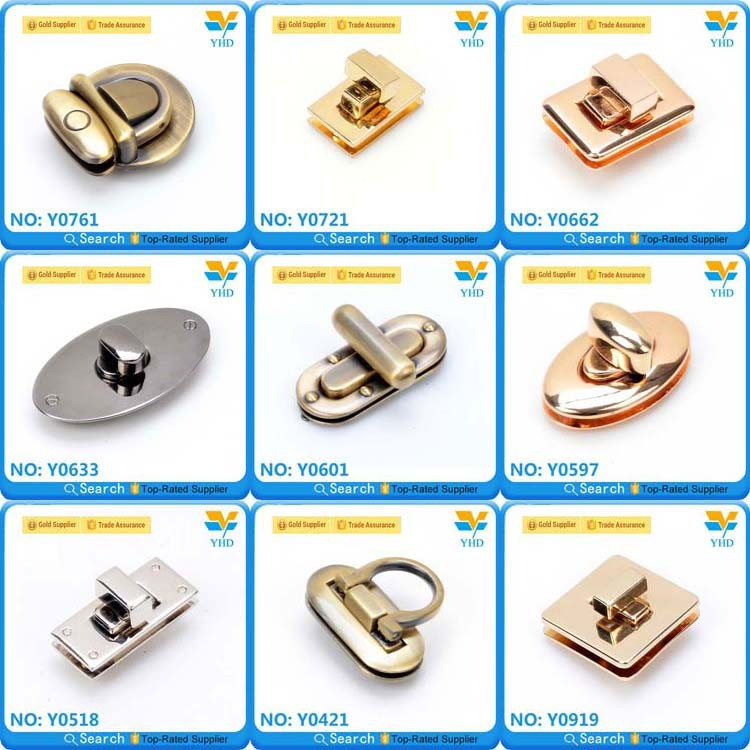 Custom direct sale bag hardware metal locks for handbags