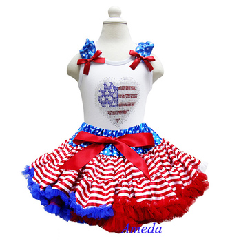 Girls Blue Star Red Stripes Pettiskirt 4th July Patriotic Rhinestone USA Flag Heart White Tank Top 1-7Y