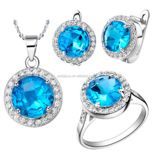 ocean blue top crystal full jewelry sets joyas de oro de dubai