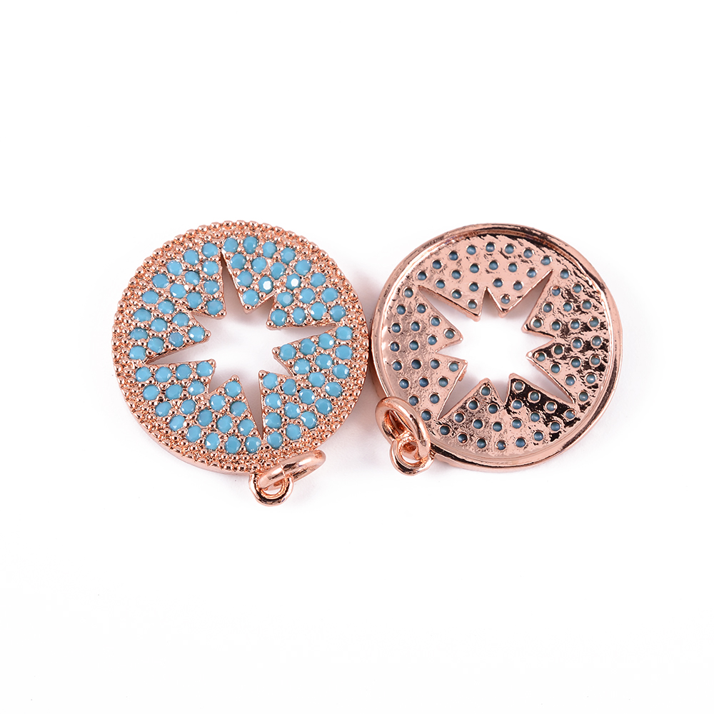 GJ brand gold plated round circle pave rhinestone with good price charms pendants