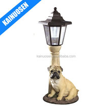 Solar Powered Garden Lantern - Resin Dog Sculpture With LED Light
