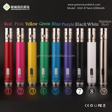 E cig carbon fiber battery 2200MAH GS EGO II twist e cigarette easy vape digital vaporizer