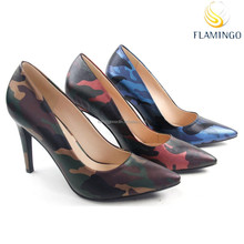 FLAMINGO 2015 LATEST ODM /OEM special material pointed toes high heel women pump shoes