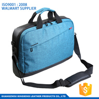 17.3 inch nylon lightweight bisuness genuine leather laptop bag with trolley strap