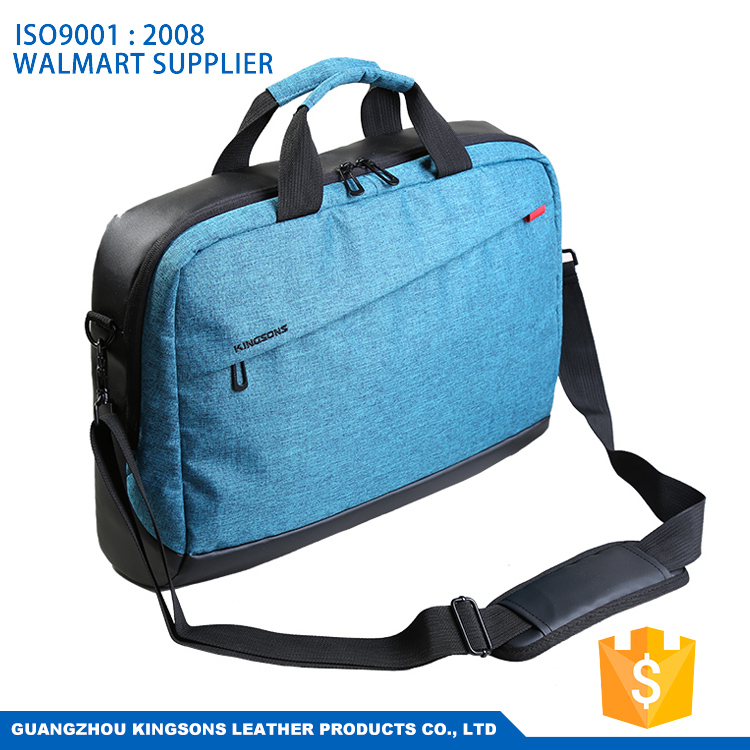 17.3 inch nylon lightweight business genuine leather laptop bag with trolley strap