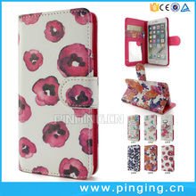 Flowers Painted Magnetic Snap Leather Flip Card Slot Wallet Case For ZTE Blade V8