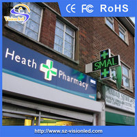 P16 Green LED cross display sign for pharmacy (Croix de Pharmacie)