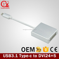 USB 3.1 16cm Type C USB3.1 to DVI cable adapter in gray color