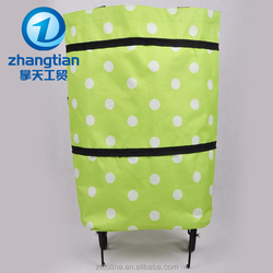 Two ways Foldable trolley shopping bag with wheels and shoulder handle
