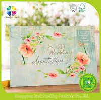Handmade Paper Greeting Card , Green Folk Art Style Printed Paper Card for Wedding Invites, Latest Wedding Card Design