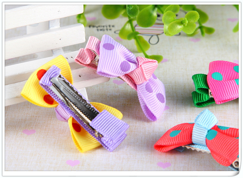 Baby Hair Accessories Wholesale Polka Dot Bow Hairclips For Kids Colourful Hairclips Hairpins