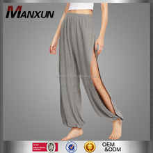 Hot Selling Women Striped Casual Trousers Fitted Elastic Waist Pants Sexy Split Side Wide Leg Pants