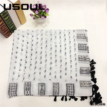 Korean Scarf Wholesale Unisex Voile Geometric Patterns Plain Print Tassel Shawls Custom White Silk Scarves For Dying