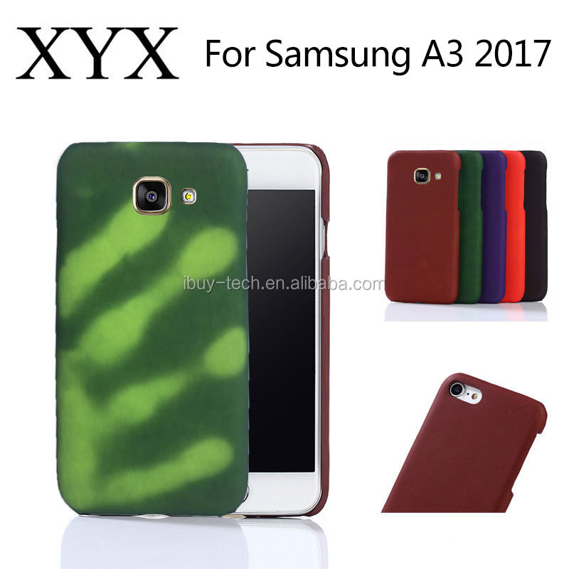 Heat sensitive induction discoloration PC leather mobile phone case new arrival for Samsung galaxy a3 2017 case cover
