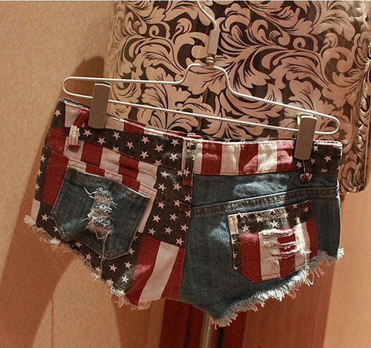 Ladies Short Jeans Pants LSexy American US Flag Mini Women Short Jeans Hot Pants Denim Low Waist Stars Stripes Size :S
