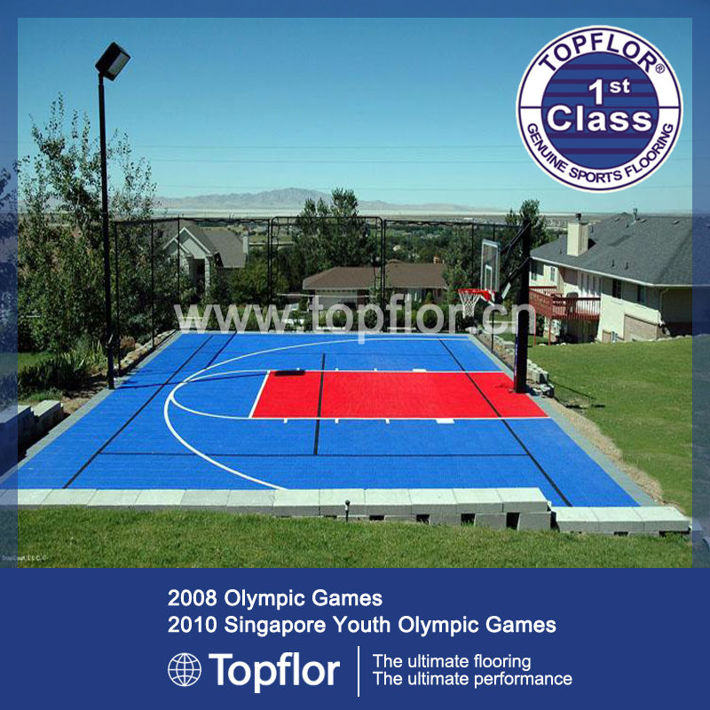 Outdoor interlocking PP sports floor for residential basketball court