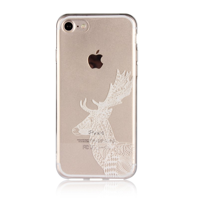 Christmas Gift Phone Case Ctue Deer Transparent TPU Frame PC Back Cover For iPhone 7 8 Case