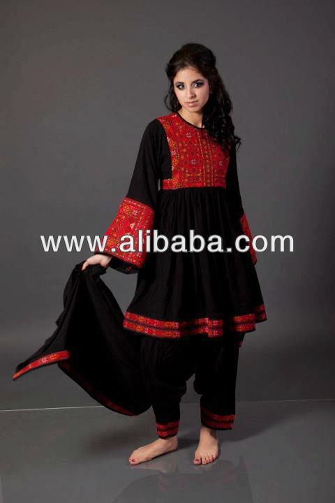 new style kuchi afghan tribal dress black colour with orange colour ethnic embroidery