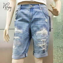 New style customized abrasion rip zipper pocket denim jeans shorts women