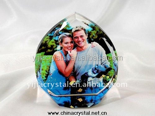 Heart Shaped Plaque Crystal Photo Frame with Base for Wedding Favor