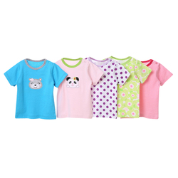 Wholesale Baby Clothes 5 PCS in 1 Bag Short Sleeves Cotton Baby T-Shirt