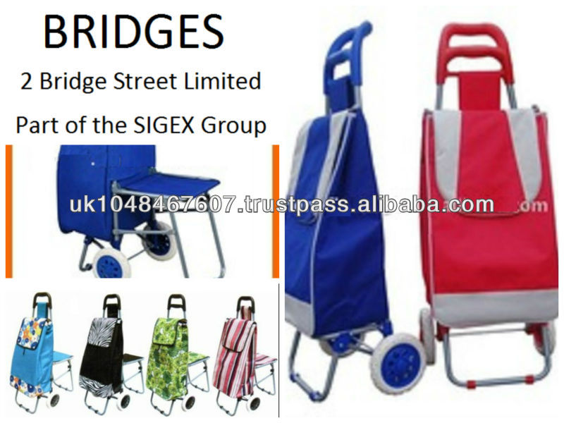 Folding Flatpack Shopping Trolley Cart with Wheels