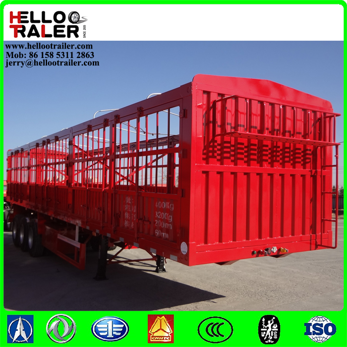 Three Axles 12 Wheelers 40 Tonnes Cargo Fence Semi Trailer for Sale
