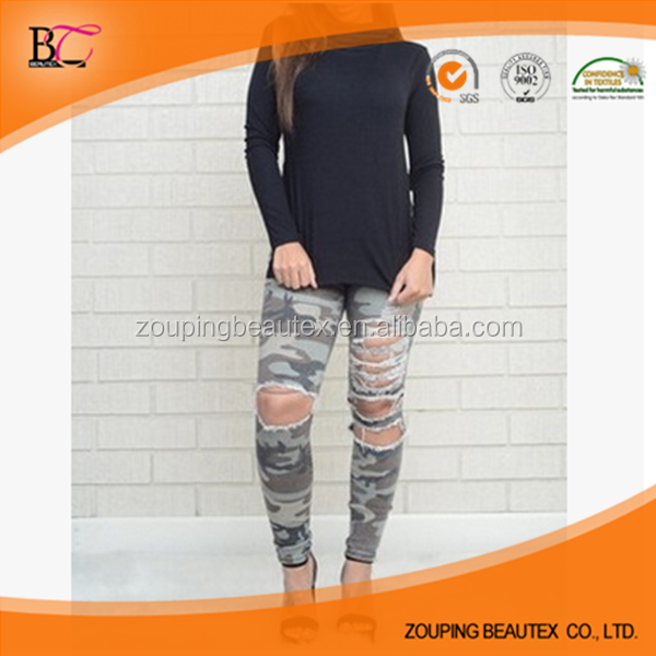 Hole in camouflage wash water female slit the wash water tight cultivate one's morality jeans