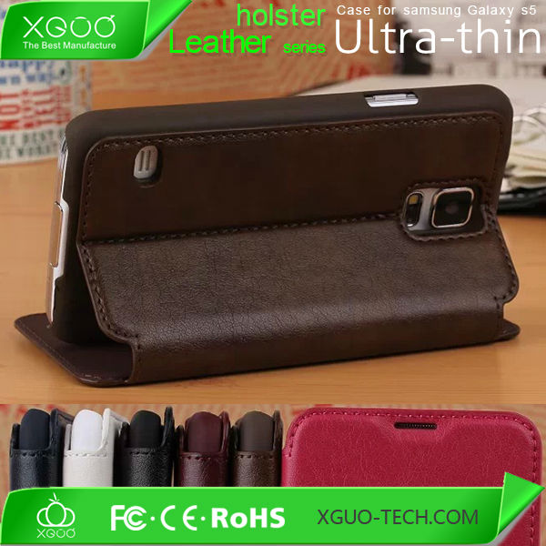 Pu wallet leather case for samsung galaxy s5 , s5 leather cover
