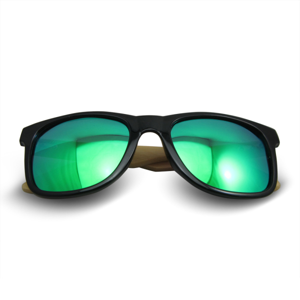 Cheap selling TAC polarized lens green and blue film primary bamboo wood sunglasses