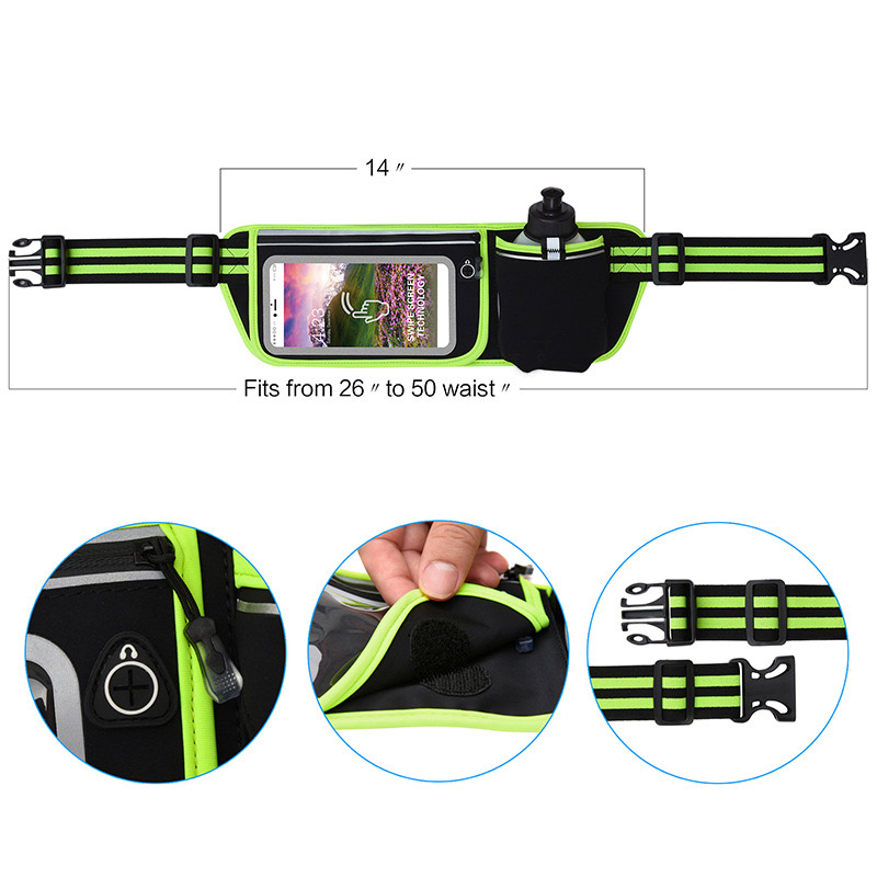 Amazon top product unisex flip touch screen running belt with water bottle holder