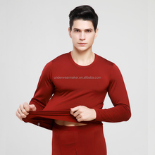 wholesale soft and high Elastic mens long johns shirt and pants 95% polyester 5%Cotton lycra thermal underwear