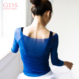 Warm up Wholesale Ladies Long Sleeve Dance Mesh Top