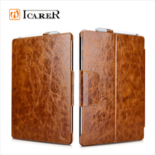 ICARER Hot Selling Oil Wax Vintage Genuine Leather Tablet Case For Microsoft Surface Pro 4