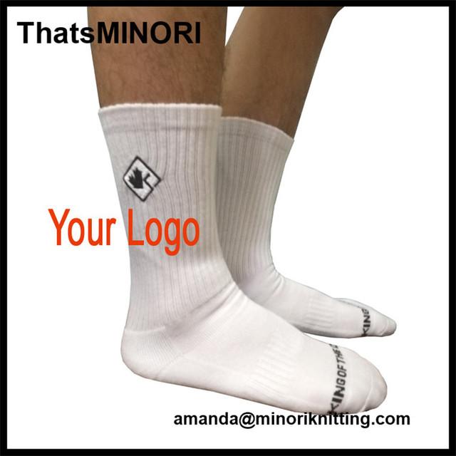 ThatsMINORI New Style Men's terry cotton custom logo mid calf sport socks