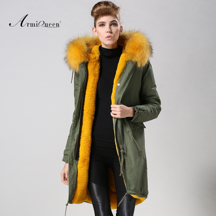 2017 Long Down Coat For Women Furs Wear,Mility Winter Long Yellow Fur Hooded Coats