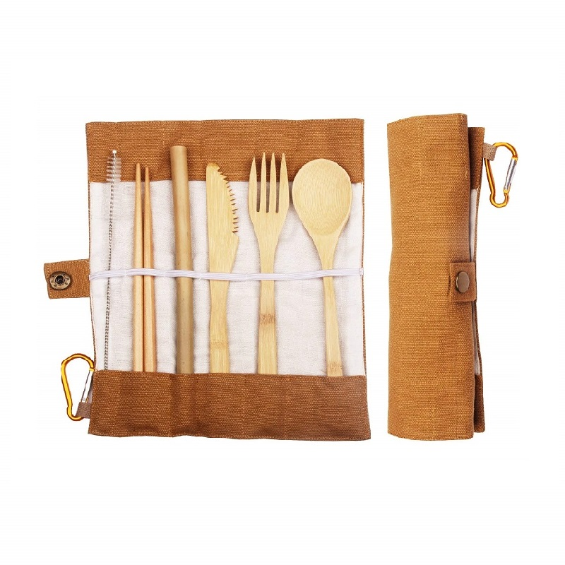 custom portable eco friendly reusable travel wooden kids bamboo cutlery <strong>set</strong> with bag