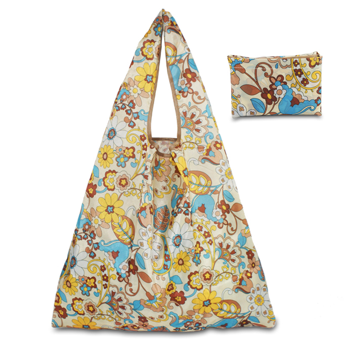 Full flower printed water resistant nylon foldable shopping bag