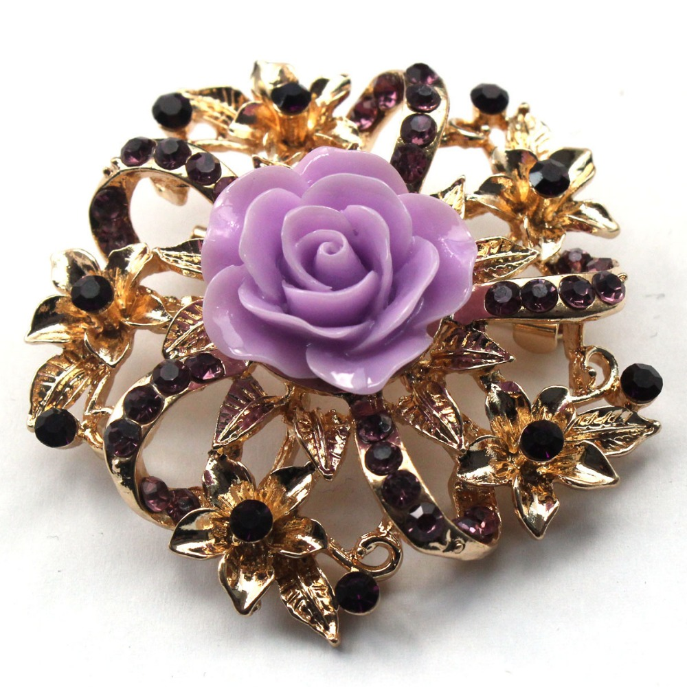 Antique style resin rhinestone brooch Large Diamond Shape gold Rhinestone Brooch