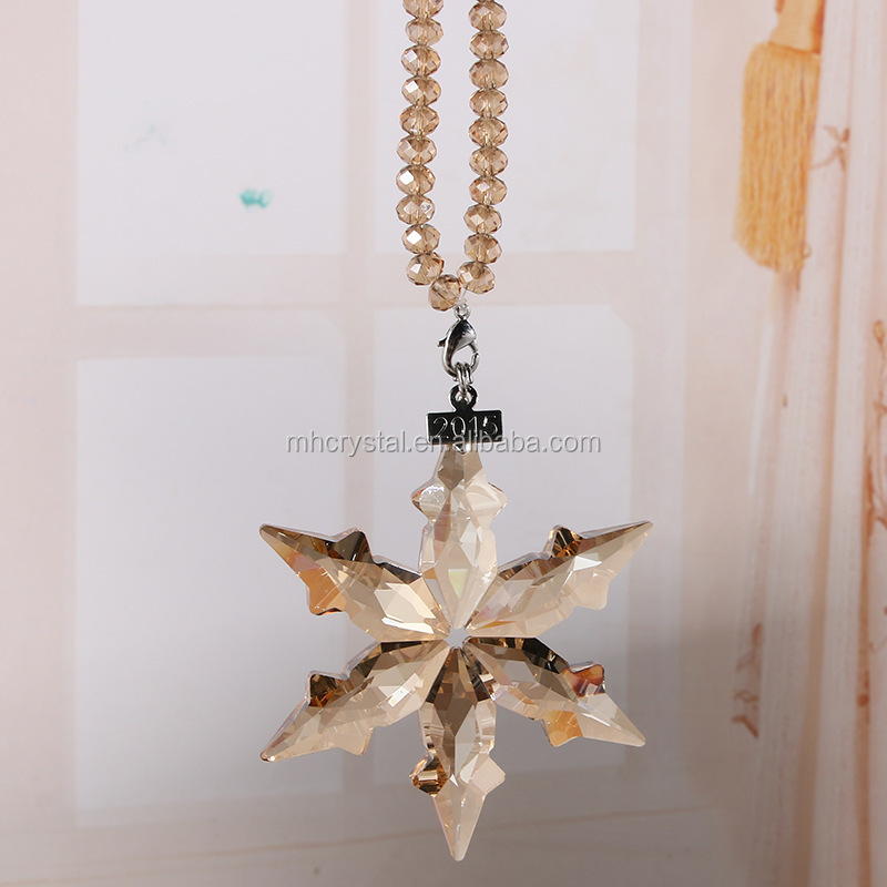 Gold Christma Tree Ornaments Glass beads Snowflake MH-12848