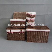 Wholesale Wicker Basket With Lid Set of 6 Factory Supply