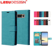 Luxury durable crazy horse leather 3 cards case with kickstand for note 8